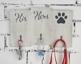 His Hers key holder, key hook hanger, wall key rack, housewarming gift, wedding gift, dog owner gift, anniversary gift,new home gift