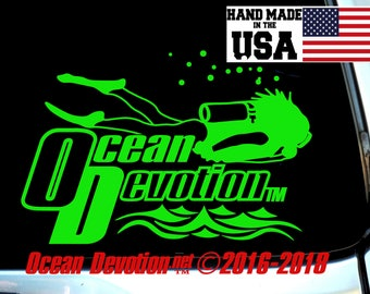 "Scuba Diver V2 ""Ocean Devotion"" Vinyl Decal/Sticker- Salt Life, Beach Life, Surfing, Fishing, Water sports, Reel Life,Sea, Car, Boat, Diving"