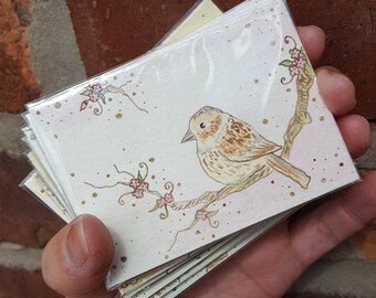 """Sparrow #1 with flowers, ACEO (3.5"""" x 2.5""""), Artist Trading Card, original ink and watercolour painting"""