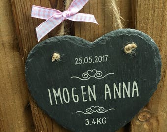 New baby slate plaque gift