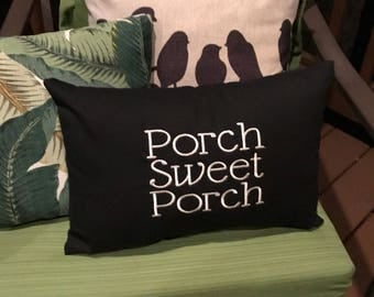Embroidered Porch Sweet Porch Pillow