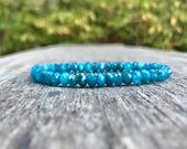 Dainty Blue Apatite Faceted Rondelle Bracelet 6mm Blue Apatite Beaded Gemstone Faceted Rondelle Bracelet Gift Bracelet Stack Bracelet