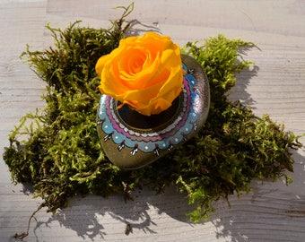 Mandala stone - ISAR Pebble with genuine rose