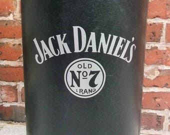 Jack Daniels Storage Barrel / Drum, Perfect Storage In Any Environment, Embossed Up Cycled Vintage With Industrial Lid