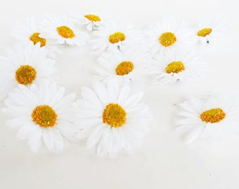 "Lot of Daisies 150 Artificial Daisy Silk Flowers White Chamomile yellow center 2.6"" Floral Hair Accessories Flower Supplies Faux Fabric"