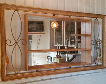 Vintage Shadow Box White Mirror Mid Century Mirror Knick