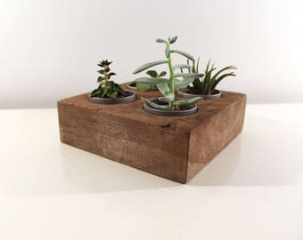 Reclaimed Wood Succulent Planter, Rustic Home Decor, Table Center Piece