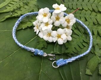 White & Blue Braided Bracelet