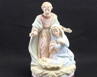 Nativity by Lefton China Co  Handpainted The Christopher Collection Geo. Z Lefton Numbered 06497 c 1987 Holy Family Baby Jesus Manger
