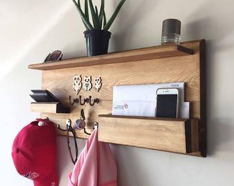 Woodymood Welcome Wall Organizer Shelf-Natural, Coat Rack, Wall Shelf,  Key Hooks and Mail Storage