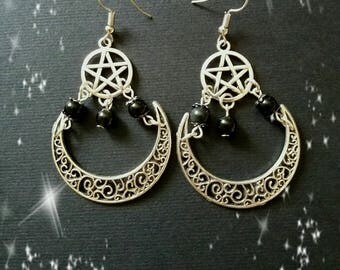 Obsidian pagan wiccan witch wicca wiccan jewlery jewlery earrings pentacle