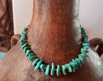 Vintage Chunky Turquoise Necklace with Heishi Beads