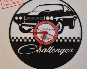 Dodge Challenger themed Vinyl Album Record Clock made in the > USA < with FREE Shipping!