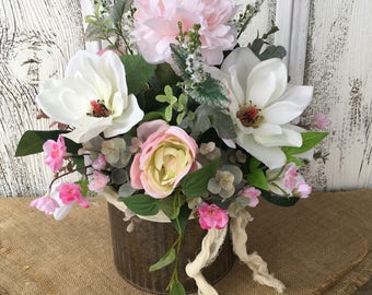 Galvanized Tin Primitive and Pretty Spring Arrangement, Summer Arrangement, Wedding Centerpiece, Mothers Day, Farmhouse Decor, Rustic Decor