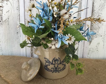 Vintage Tan and Blue Crock Floral Arrangement, Spring Arrangement, Antique Crock Centerpiece, Cotton Pod Arrangement, FAAP