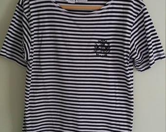 90s vintage black and white striped shirt