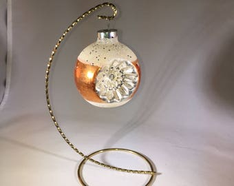 Vintage Christmas Ornament Orange White and Silver 1950's With Glitter