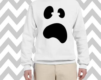 Ghost Face Sweatshirt Unisex Halloween Tee Scary Ghost Face Shirt Halloween Party T-Shirt Boo Face Happy Halloween Boo Ghost Costume Tee