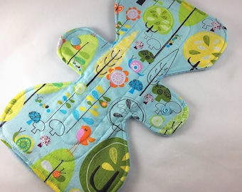"Birds and Trees - Blue -  9.5"" inch - 2L- Reusable Cloth Pad"
