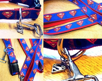Large Collar, Long Leash, Superheroes, Special Clasps, Chicago Sport Rivalry collars, Patriotic Collar