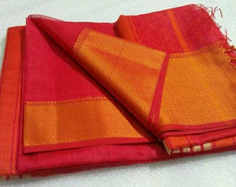 Arunika - Handloom Cotton Silk Maheshwari Saree With Blouse Piece