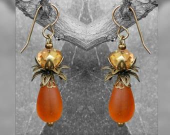 1 kit earrings 45 mm orange Palm tree