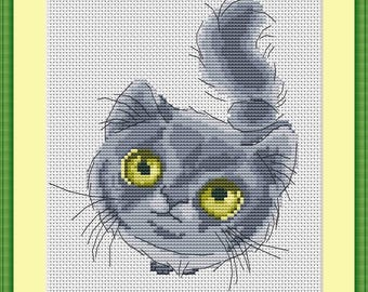 Gray Cat cross stitch pattern Cat design cross stitch Cat lover gift Cat Pattern Design pet cat house cat Home Decor gray cat Pattern kitten