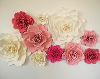 10 Piece Paper Flowers Handmade Weding Roses Party Decor Bridal Shower Baby Paper Flowers Nursery Wall Decor Wedding Arch
