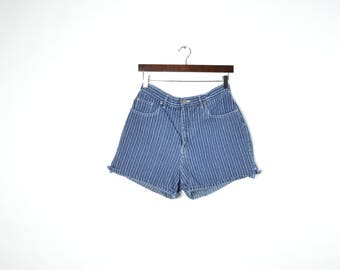 Vintage Blue and White Striped High Waisted Halston Shorts