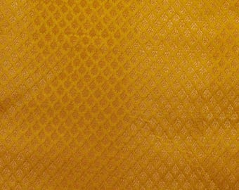 Half Yard of Yellow and Golden traingle pattern Brocade Silk Fabric by the yard