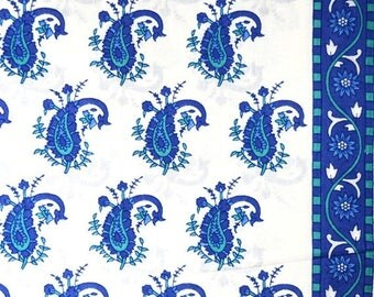 10% Off On Unique Blue Paisley Block Printed on white Cotton Fabric by the Yard