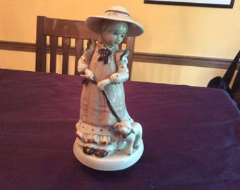 Vintage Girl with hat and lamb music box