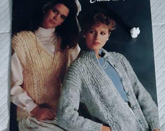 1985 Bernat Creme de Tweed Misses Sweaters Original Knitting Pattern Book