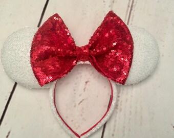 White Christmas Minnie ears