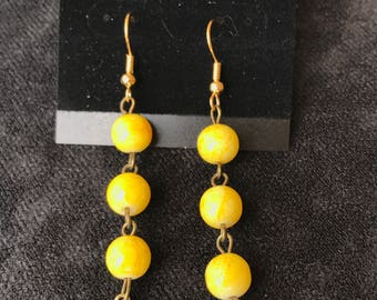 Yellow Spheres with Design Earrings