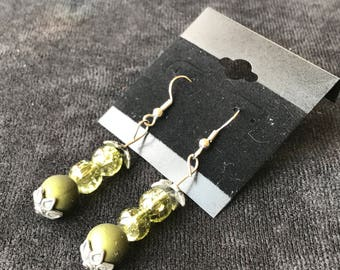Green Sphere Earrings