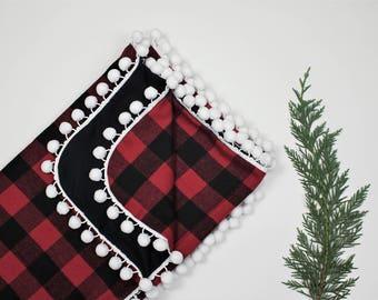 Buffalo Plaid Flannel Pom Blanket, Flannel Pom Pom Blanket, Gender Neutral Baby Blanket, Pom Pom Baby, Christmas Blanket