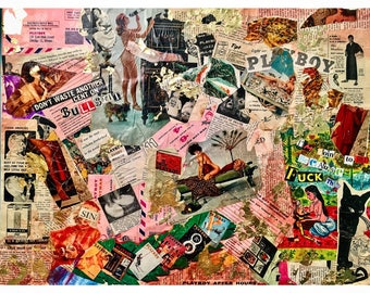 One of a Kind Vintage Playboy and Gold Leaf Collage