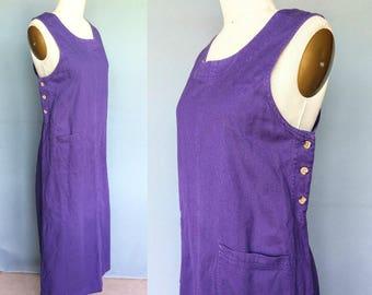 sour grapes / 90s purple denim pinafore maxi dress / large