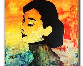 Canvas Print - Audrey HEPBURN - Stretched & Ready To Hang, Large Print, Modern Print, Canvas Art, Wall Art Decor by Kathleen Artist