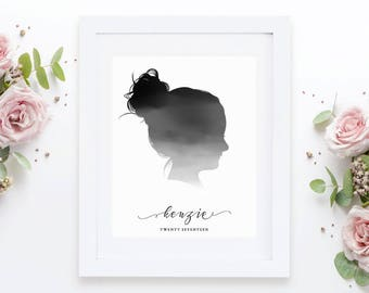 Watercolor silhouette. Nursery Decor. Girls room art. Custom silhouette. Nursery decor. Nursery wall art. Gift for Birthday. Printable file.