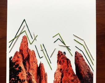 Abstract Mountains - Mixed Media Hand Embroidered Photograph