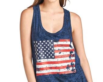 Women's Flag Print Burnout Tank Top