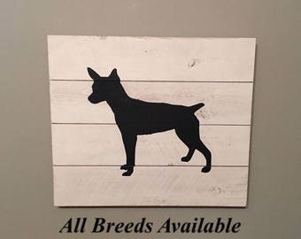Rat Terrier Silhouette Wood Sign, Rat Terrier Gifts, Rat Terrier Art, Dog Signs for a Home, Rat Terrier Dog, Terrier, Rat Terrier Sign