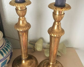 Pair of Heavyweight Brass Candlestick Holders/ Hollywood Regency Lined Candle Holders/ Brass Metal Tablescape