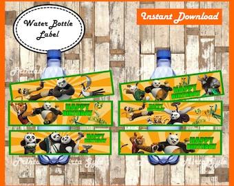 Kung Fu Panda Water Bottle Label, printable Kung Fu Panda party Water Bottle Label, Kung Fu Panda Bottle Labels