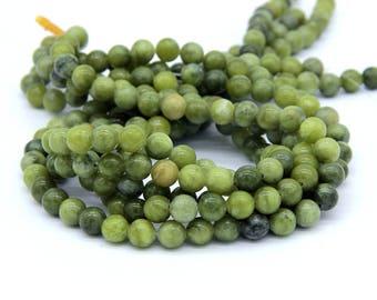 Green Jade Serpentine Jade Beads 6mm 8mm 10mm Natural Olive Jade Beads Green Mala Beads Supplies Olive Gemstone Green Gemstone Beads