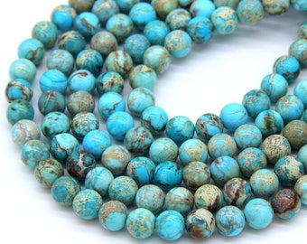 "Turquoise Sea Sediment Jasper Beads 8mm Turquoise Blue Imperial Jasper Emperor Jasper A quality 16"" Full Strand Gemstone Wholesale"