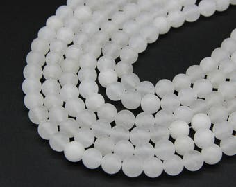 Matte White Jade Beads 6mm 8mm 10mm Natural White Gemstone Beads White Marble Beads Mala Beads Jade Mala Bracelet Necklace Beads Supplies