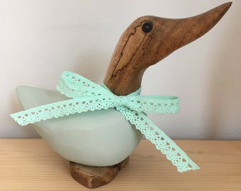 Mint green dinky duck with matching lace ribbon